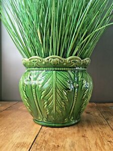 ANTIQUE MAJOLICA GREEN ANCATHUS LEAF POTTERY PLANT POT PLANTER JARDINIERE