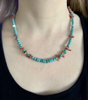 """#1211 Turquoise, Coral, Stone 19"""" Necklace, Sterling Silver Hook Eye 925 Clasp"""