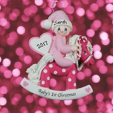 Personalised Babys First Christmas Pink Rocking Horse Tree Decoration -Baby Girl