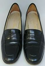 Salvatore Ferragamo Boutique Black Leather Loafers Flats Shoes Wmn Sz 7AA Italy