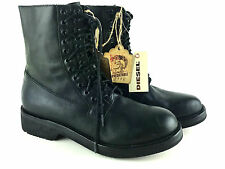 Diesel women's D-zoeii Leather Lace up Combat Boots femmes profondeur lettons New NEUF