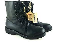 DIESEL Women's D-ZOEII Leather Lace Up Combat Boots Damenstiefeletten NEW NEU