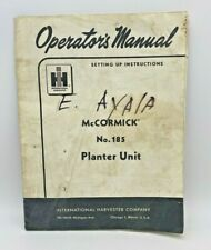 International Harvester Mccormick No185 Planter Unit Owners Manual Original 1960