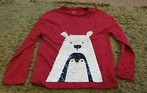 Next red polar bear penguin robin reverse sequin long sleeved top age 8 years