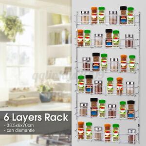 6 Tier Wall Mount Kitchen Door Jar Spice Rack Cabinet Storage Organizer