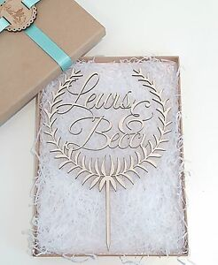 LARGE Personalised Wooden Wedding Cake Topper - Wreath