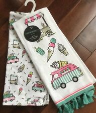 Cynthia Rowley Kitchen Hand Towels Set Of 2 Ice Cream Truck New W Tags  Summer