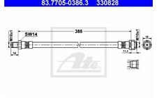 ATE Tubo flexible de frenos VOLKSWAGEN TRANSPORTER MERCEDES-BENZ 83.7705-0386.3
