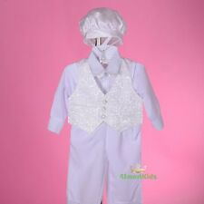 5 Pcs White Baby Boy Baptism Christening Outfit Suit Vast Cap Size 2 Cn007