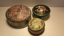 Exotic Wood Painted Set of Covered Bowls With Lids Sugar Candy Nut Keepsake Bowl