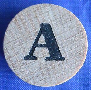 WordSearch Letter A Tile Replacement Wooden Round Game Piece Part 1988 Pressman