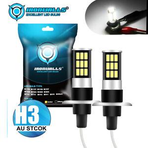 2x IRONWALLS H3 LED 55W HEADLIGHT FOG DRIVING LIGHT BULBS CAR LAMP GLOBES 6000K