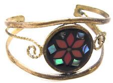 "Vintage 5"" Cuff Bracelet Alpaca Mexico w/Inlay Stone Flower Design Silver Tone"