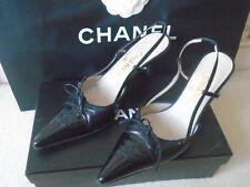 CHANEL Cuero-puntera de patente zapatos talla 5