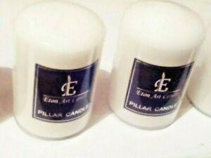 Eton Art White  Pillar Candles   4 x 2 inch