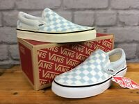 VANS UK 3 EU 35 CLASSIC SLIP ON CHECKERBOARD BLUE WHITE LADIES CHILDREN LD