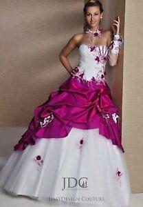 Pink Duchesse Corsage Weiß Fushia Brautkleid Quiceanera Ballkleid Blumen Schnürt