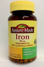 Nature Made Iron 65 mg Dietary Supplement  365 Tablets Vital For Red Blood Cell