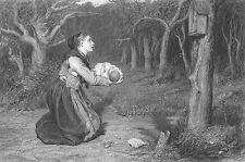 YOUNG MOTHER PRAYS for BABY at SHRINE ALTAR IN FOREST ~ 1876 Art Print Engraving