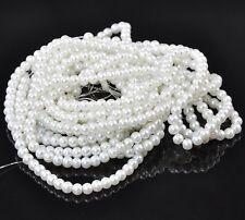 100 Perles ronde nacré en verre blanc 6 mm