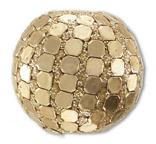 ONE LARGE HANDMADE GLASS & GLITTER FOCAL GOLD COLOURED BEAD, 19 MM