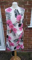 Wallis Size 18 Cream Floral Print Sleeveless Sheath Dress