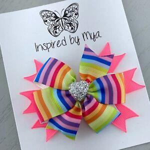Hair Clip Girls Bow Ribbon Fabric Piggy Australian Handmade Accessory Glitter