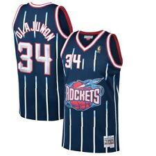 1996-97 Houston Rockets # 34 Olajuwon Mitchell & Ness NBA Navy Swingman Jersey