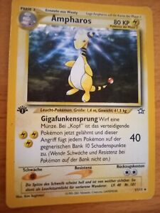 Pokemon Karten Tcg Neo Genesis 1. Edition Ampharos Holo Glitzer