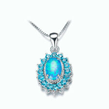 Blue Fire Opal Ocean Blue Topaz Gems 925 Sterling Silver Plated Necklace Pendant