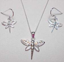 "925 st silver dragonfly a.b. CZ, Necklace + earrings, 18"" chain"