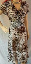 animal print size 6 wrap style dressbarn side zip dress with matching tie belt