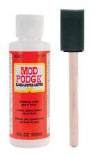 "Mod Podge Gloss Finish 4oz waterbase sealer, glue & finish + 1"" foam brush"