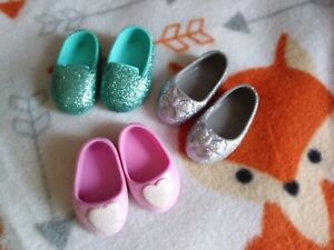 Glitter Girls doll clothes shoes, three pairs, Wellie Wishers, Emily Rose