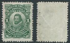 "Newfoundland Scott 87x: 1c King James with ""JAMRS"" variety, perf 12x12, F-VF"