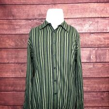 Kenneth Cole Reaction Mens Shirt  L/S Green Striped Size L Large