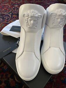 NWT Versace Palazzo Medusa Triple White High Top Leather Sneakers 42 100% RARE!!