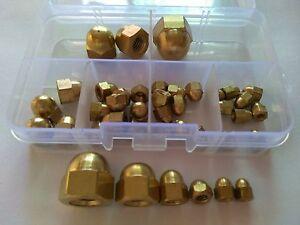 40pcs M3/M4/M5/M6/M8/M10 Brass Cap Hex Nuts Copper Hexagonal Nuts Assortment Set