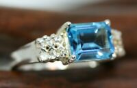 New Natural 2.6 CT Radiant Baguette Ocean Blue Topaz 925 Silver Ring Band Sz 6.5