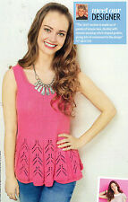 """~ Knitting Pattern For Lady's Lacy Border Flared Vest & Headband ~ 32"""" ~ 54"""" ~"""