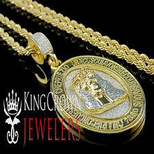 2 TONE MENS YELLOW GOLD FINISH JESUS FACE CHARM HEAD PENDANT CHAIN NECKLACE SET