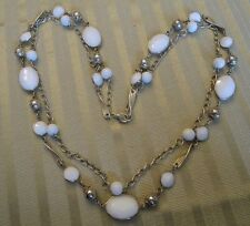"Vintage Double 28"" Milky White Faceted & Round-Silver Beads & Twisted Bar Design"