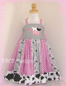 New Girls Farm Barn Pink COW Dress - Size 3/4 Birthday Party Pageant Outfit