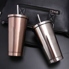 2pcs Stainless Steel Cups With Straw - Double Wall Outdoor Travel Tumbler