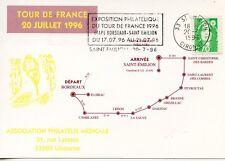 EXPOSITION PHILATELIQUE TOUR DE FRANCE 20 JUILLET 1996 / BORDEAUX SAINT EMILION