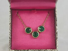 Jessica Simpson Goldtone Holiday Gifting Boxed Green 3 Stone Necklace $38