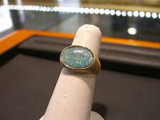 NEW MEN'S HAND MADE OVAL OPAL 5.0 CARAT YELLOW GOLD RING 18 KARAT PINKY RING WOW