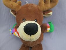 Very Soft Brown Reindeer Moose Pink Cheeks Scarf Mittens Plush Stuffed Animal
