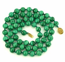"""Vintage Malachite Beaded 10mm Necklace Silver Chinese 30"""" Hand Knotted"""