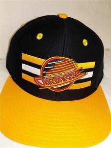 Vancouver Canucks Mens OSFA Flatbrim Snapback Black Yellow Vintage Hockey Hat